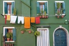 Ett typisk hem i Burano Arkivbilder