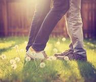 Ett ungt par som kysser i en trädgård i sommarsol, tänder under Royaltyfri Bild