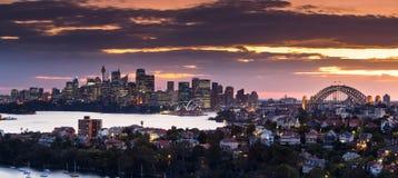 Sydney hamnpanorama på solnedgången Royaltyfri Bild