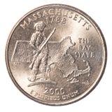Ett USA-fjärdedelmynt - stat av massachusetts Royaltyfria Bilder