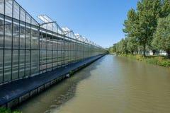 Ett växthus längs en kanal i Westland, i Nederländerna Arkivbild
