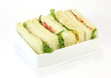 Ett val av smörgåsar med olika fyllningar Fotografering för Bildbyråer
