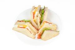 Ett val av smörgåsar med olika fyllningar Royaltyfri Bild