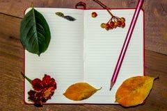 Ett vitt ark av en anteckningsbok, höstguling och gräsplansidor, bär av enros, en blyertspenna på en träbakgrund Arkivfoton