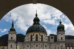 Ettal abbey through arch Royalty Free Stock Photography