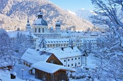 Ettal abbey in winter Royalty Free Stock Photo