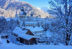 Ettal abbey in winter Stock Photo