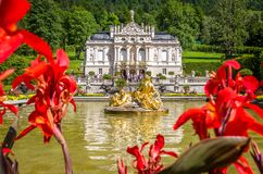 Ettal, Germany, 14 August 2017: Beautiful Kings` Palace in Linderhof, Bavaria, Germany royalty free stock photos