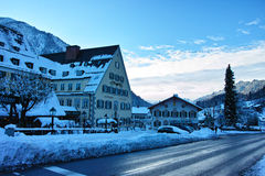 Ettal town Alpine scenery in snow Stock Photography