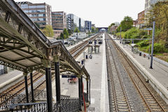The Etterbeek station in the Brussels-Capital Region. BRUSSELS, BELGIUM - May 01, 2015:The Etterbeek station is a Belgian train station in the territory of the Royalty Free Stock Photography