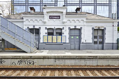 The Etterbeek station in the Brussels-Capital Region. BRUSSELS, BELGIUM - May 01, 2015:The Etterbeek station is a Belgian train station in the territory of the Stock Photo