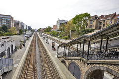 The Etterbeek station in the Brussels-Capital Region. BRUSSELS, BELGIUM - May 01, 2015:The Etterbeek station is a Belgian train station in the territory of the Royalty Free Stock Photos
