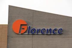 Etters Florence på en byggnad i Amsterdam Royaltyfria Foton