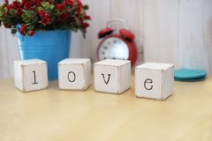 Etters wooden word cubes love royalty free stock photography