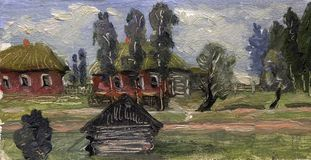 Etude van een landelijk die landschap in olie wordt geschreven Voloshin A K Royalty-vrije Stock Fotografie