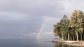 Etwas gewaschener heraus Regenbogen über Wald durch einen See lizenzfreie stockfotos