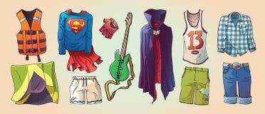 Etwas Vorlagen-Kleidung und die Gitarre stock abbildung