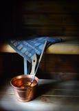Etwas wesentliche Gegenstände für Sauna Stockbild
