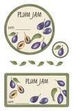 Etykietka śliwkowy dżem Fotografia Royalty Free
