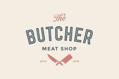 Etykietka Butchery mięsny sklep Zdjęcie Royalty Free