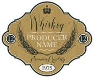 Etykietka dla whisky z ucho jęczmień Zdjęcia Stock