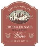 Etykietka dla wina z Europejskim wiejskim krajobrazem ilustracji