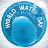 Etykietka dla Wodnego dnia świętowania z Wodnym pluśnięciem nad nim, Wektorowa ilustracja Zdjęcie Stock