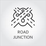 Etykietka drogowy złącze, ikona rysująca w konturu stylu royalty ilustracja