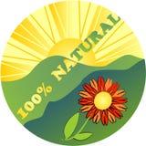 Etykietka 100% naturalny z kwiatem Fotografia Stock