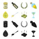 Etykietka oliwa z oliwek, łyżka z kroplą, oliwki na kijach, szkło alkohol Oliwki ustawiać inkasowe ikony w czerni ilustracja wektor