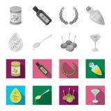 Etykietka oliwa z oliwek, łyżka z kroplą, oliwki na kijach, szkło alkohol Oliwki ustawiać inkasowe ikony w monochromu ilustracja wektor