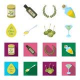 Etykietka oliwa z oliwek, łyżka z kroplą, oliwki na kijach, szkło alkohol Oliwki ustawiają inkasowe ikony w kreskówce, mieszkanie ilustracja wektor