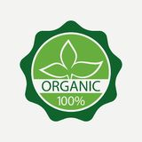etykietka organicznie Natury ilość weryfikował symbol z liśćmi wektor Obraz Royalty Free