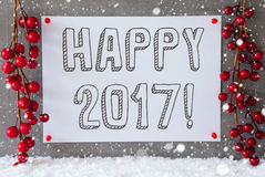 Etykietka, płatki śniegu, Bożenarodzeniowa dekoracja, tekst Szczęśliwy 2017 Obraz Stock