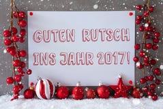 Etykietka, płatki śniegu, Bożenarodzeniowe piłki, Guten Rutsch 2017 sposobów nowy rok Fotografia Royalty Free