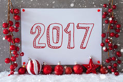 Etykietka, płatki śniegu, Bożenarodzeniowe piłki, tekst 2017 Zdjęcie Royalty Free