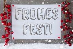 Etykietka, płatki śniegu, dekoracja, Frohes Fest Znaczy Wesoło boże narodzenia Zdjęcia Royalty Free