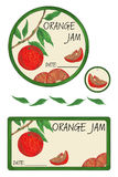 Etykietka pomarańczowy dżem Fotografia Stock