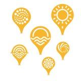 Etykietka precyzować lokację pogodna plaża piękna logowie ustawiający ogólnospołeczny techniczny tematów target1777_1_ zmienia we Fotografia Royalty Free