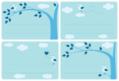 etykietka ptasi błękitny set ilustracji