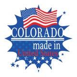 Etykietka z flaga i tekstem Robić w Kolorado ilustracja wektor