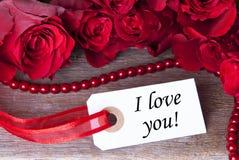 Etykietka z kocham Ciebie Fotografia Stock