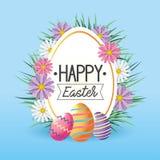 Etykietka z kwiatów i Easter jajek dekoracją royalty ilustracja