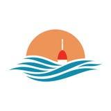 Etykietka z pławika, słońca i morza ikoną ilustracji