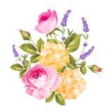 Etykietka z wzrastał kwiaty royalty ilustracja