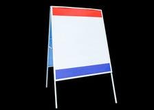 Etykietka znaki reklamują białą czerwoną błękit deskę na tle obrazy stock