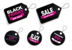 Etykietki Black Friday sprzedaż Zdjęcie Stock