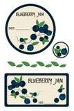 Etykietki czarnej jagody dżem Obrazy Royalty Free
