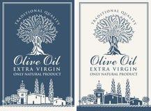 Etykietki dla oliwa z oliwek z wieś krajobrazem ilustracja wektor