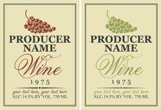 Etykietki dla wina z winogronami royalty ilustracja